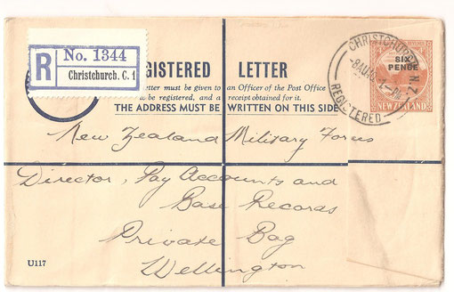 1940 6d overprint on 4d registered postal stationery, ex Christchurch to Wellington, 8 Aug 1940.ED3a.
