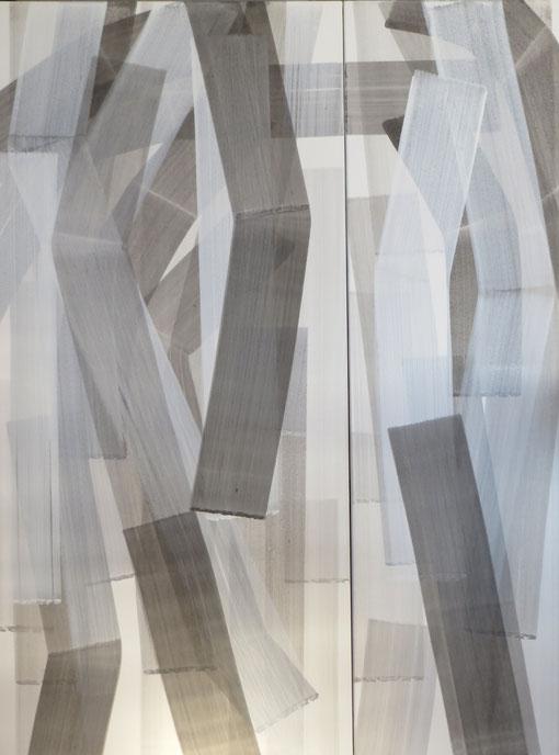 strokes 15 und 16,  Tusche mit Kreidegrund auf Leinwand, 150x70 und 150x45 cm