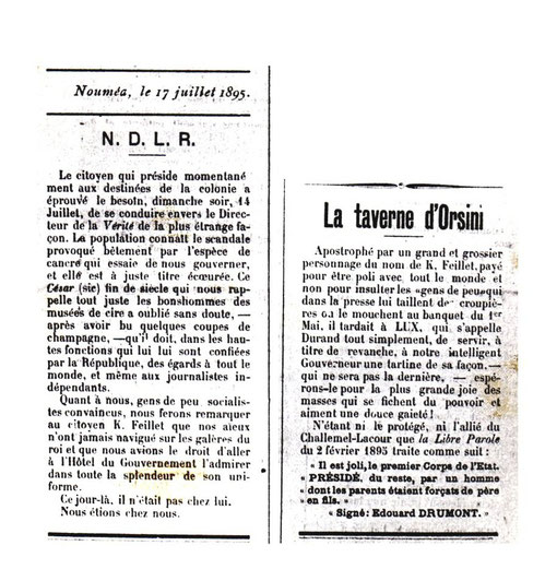 D33 - Deux articulets extraits de La Vérité du 17 juillet 1895