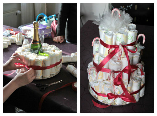 Confection du diapers cake pour la Baby shower de Christa !