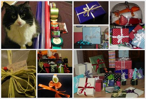 """Atelier """"cadeau"""" à quelques jours de Noël, avec l´aide de Neela qui supervise les opérations ( et tente au passage de subtiliser des bouts de bolduc...)"""