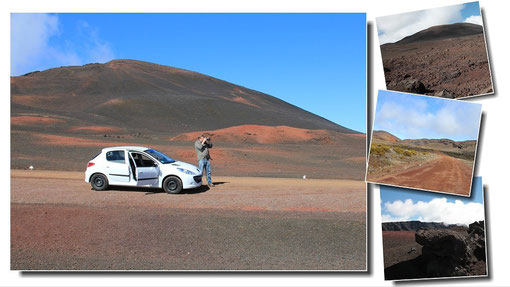 Au coeur de la plaine des sables, à l´approche du volcan, un paysage lunaire fait de scories  !