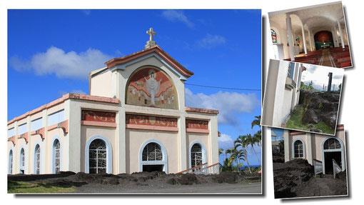 Notre Dame des Laves, église modeste mais néanmoins renommée car elle fut miraculeusement épargnée par la coulée de lave de 1977 qui dévasta le reste du village...