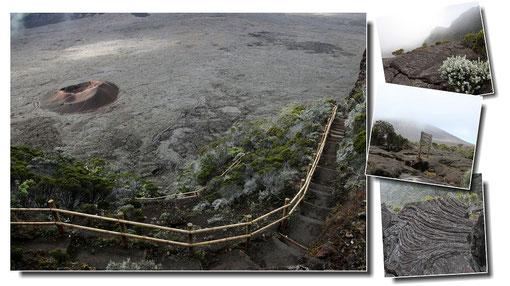 Descente dans l´enclos Fouqué, la plus récente des caldeiras formée par le Piton de la Fournaise