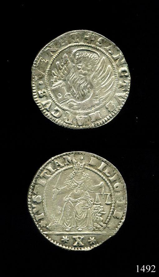 R.M.BORDIN 1492 - LIRONE DA 10 GAZZETTE  (3° TIPO)
