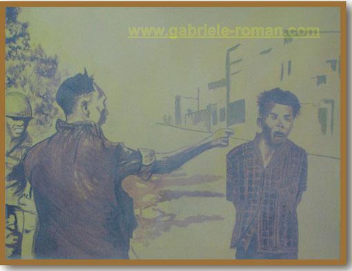 Saigon 1968: Der Polizeichef richtet auf offener Straße einen Vietcong durch Kopfschuss hin. Im Gemälde fehlt die Pistole. Der Fokus richtet sich auf das Leid des Gefangenen. Vorlage: Eddi Adams Foto