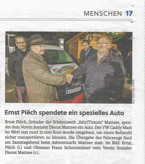 Salzburger Nachrichten berichten über die Auto-Übergabe beim Charity-Event am neuen Adventmarkt am See (19.12.2016)