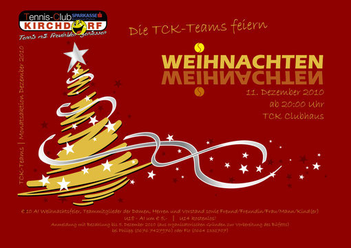Weihnachtsfeier der TCK Damen- und Herrenteams mit dem Vorstand