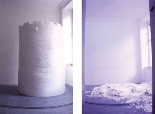SUGER FORT (FOR ONE)   2000,    cube suger , glue, water  1500×1500×2000mm