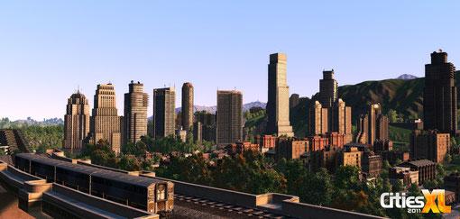 Schienenverkehr - und eine bombastische Stadt im Hintergrund