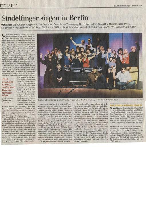 Stuttgarter Zeitung 21.02.2013