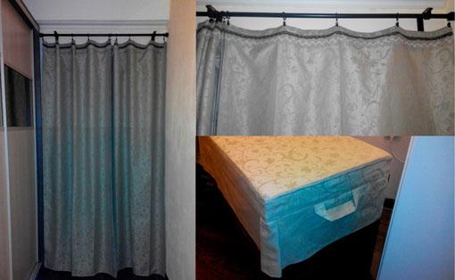 гардероб. шторы и мягкое сиденье-крышка для ящика в прихожей