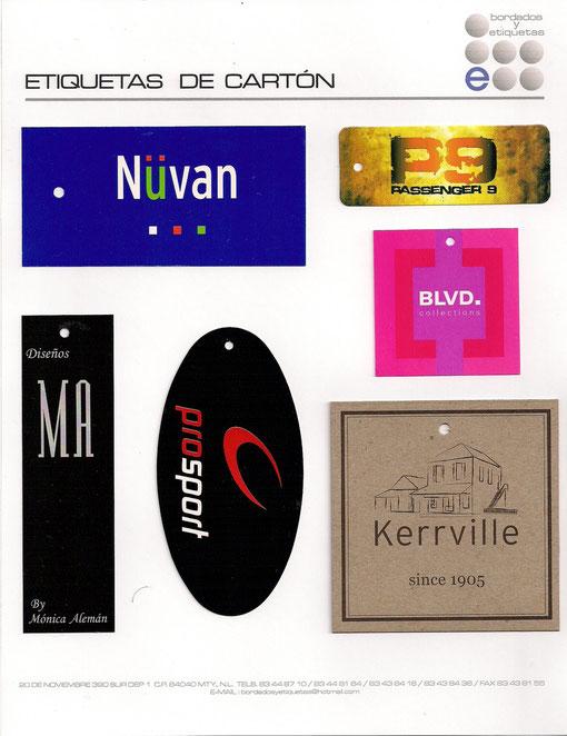 Etiquetas de cartòn colgantes