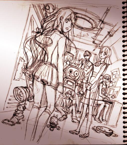 シーンイラストラフ。カラクリロボット研究部の部室にて。背後から迫る何かを見返るイメージです(´∀`)