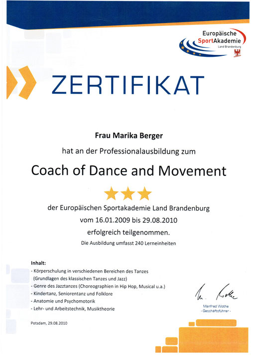 "Zertifikat ""Coach of Dance and Movement"""
