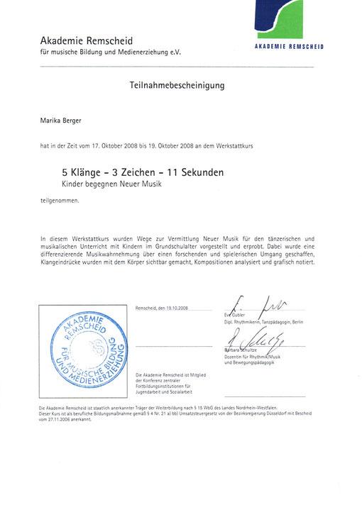 Zertifikat über die tänzerische Ausbildung