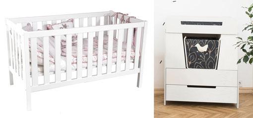 Babybett und Wickelkommode
