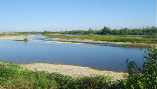 Rijeka Bosna, 2008.godine. Na ovom mjestu je nekad plovila skela za Veliko Polje