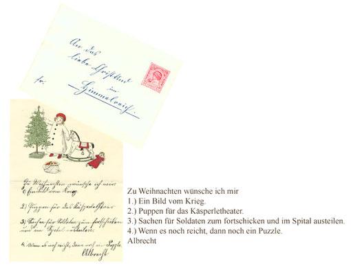 Kolorierter Wunschzettel Albrechts von Urach (1903 - 1969) von 1915*
