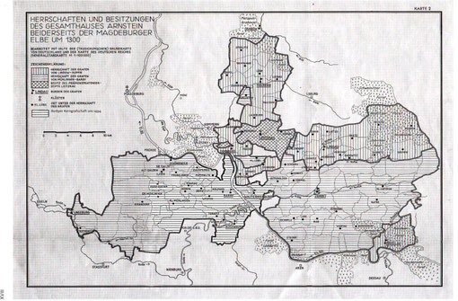 Territorium der Grafschaft  um 1300