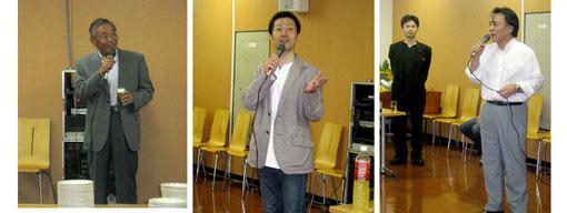 渋谷シティオペラ宇野澤会長。指揮者の時任さん。演出家の直井さん。