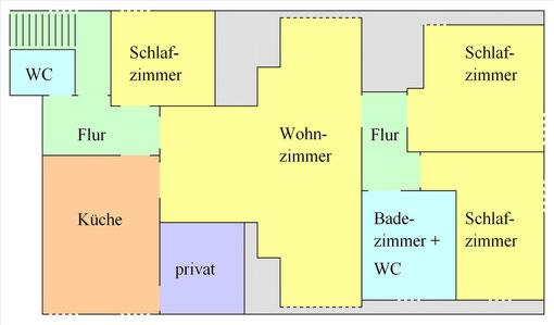 """Grundriss Ferienwohnung """"Oberstufe"""" (c) Alte Schule Bokel"""