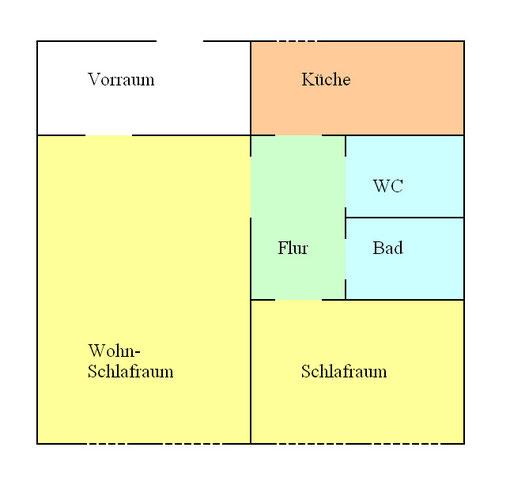 "Grundriss Ferienwohnung ""Unterstufe"" Alte Schule Bokel"