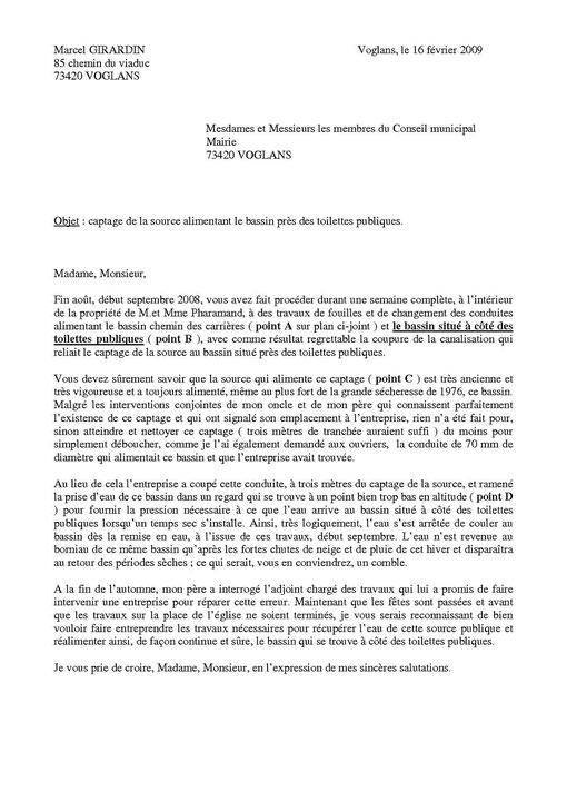Lettre déposée dans les boites aux lettres de tous les membres du conseil municipal en février 2009 et restée sans aucune réponse depuis !