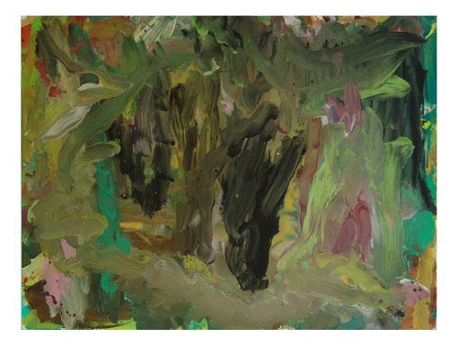 Mauer mit Busch,Gouache,57x75cm.2010
