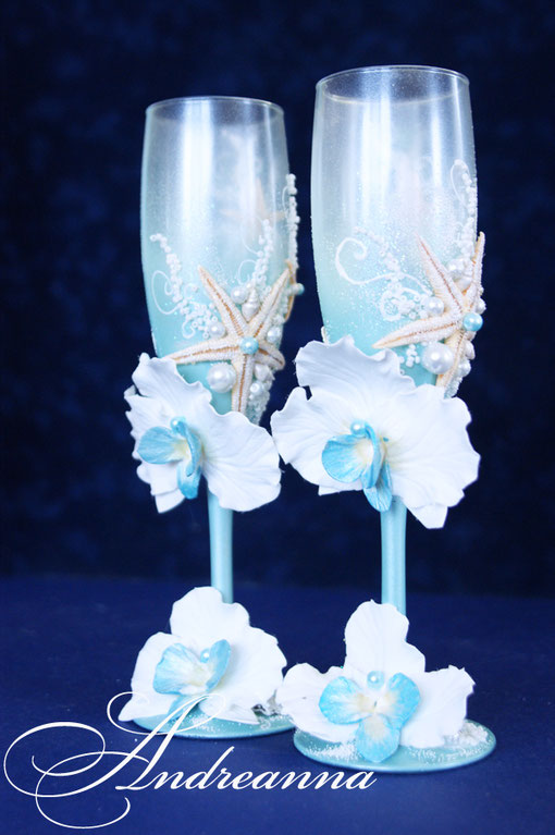 Свадебные бокалы «Бирюзовая орхидея». Стоимость 800грн.