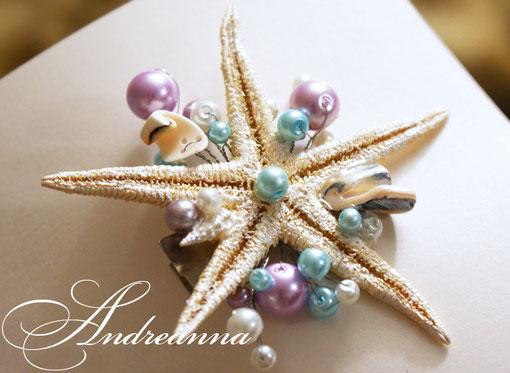 Заколка морская звезда, с лиловым и голубым жемчугом стоимость 250грн