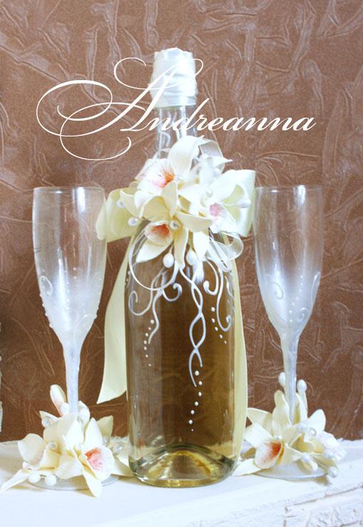 Съемное украшение для шампанского  «Орхидея Vanílla». Стоимость 350грн  Цветы с ароматом ванили!