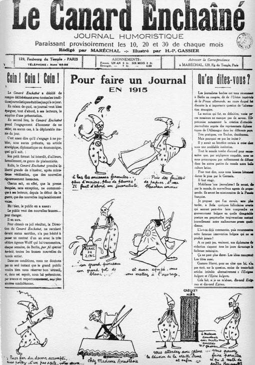 Une du journal satyrique le Canard Enchainé de 1915 (DR)