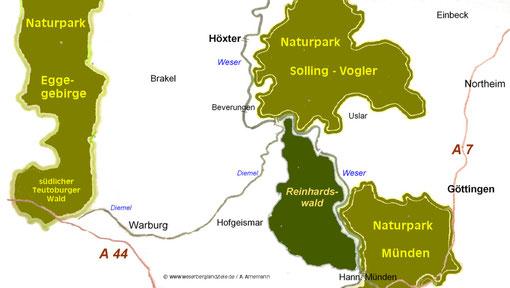 Südliches Weserbergland mit Naturparks und Reinhardswald (Karte durch klicken vergrößern!)