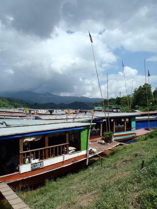 Slow boats, Laos, Thailand border, Mekong, Asia.