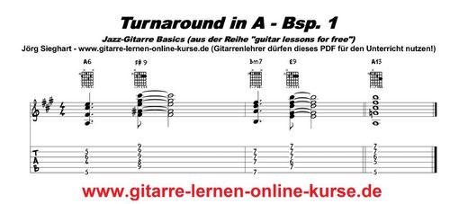 Jazz-Turnaround in A (www.gitarre-lernen-online-kurse.de)