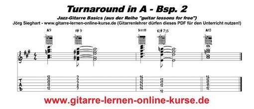 Turnaround in A Jazz-Gitarre lernen (www.gitarre-lernen-online-kurse.de)