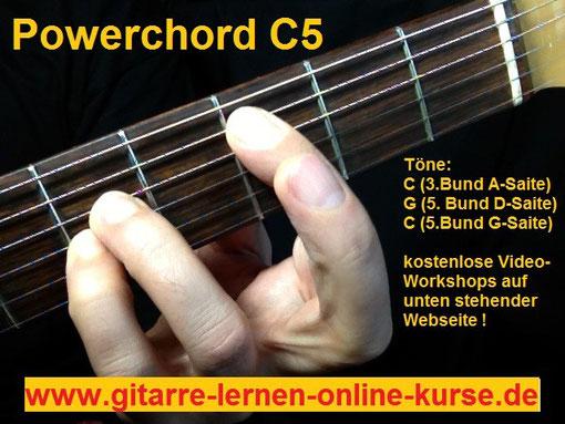 Powerchord C5 in der 3. Lage (www.gitarre-lernen-online-kurse.de)