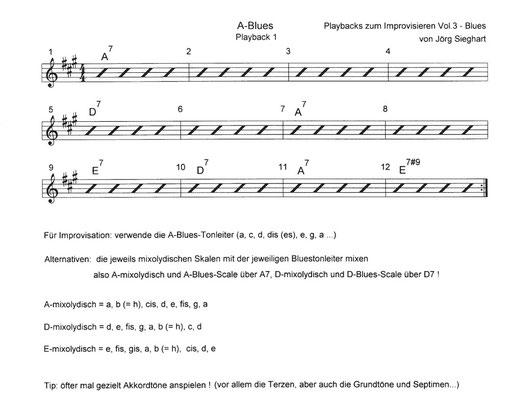 """www.gitarre-lernen-online-kurse.de  - Auszug aus Leadsheet zu """"Playbacks zum Improvisieren Vol.3 - Blues"""" (Tunesday Records / Jörg Sieghart) www.tunesdayrecords.de/shop/catalog"""