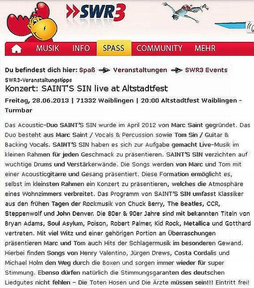 28.06.2013 SWR3 Page Screenshot - Konzert 28. und 29.06.13 Altstadtfest Waiblingen - Turmbar, Waiblingen