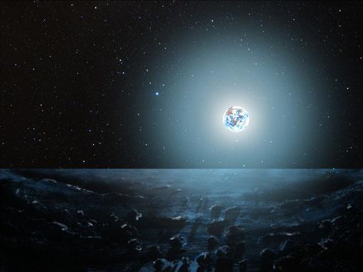 Blick vom Mond auf die Erde  -                                          Acrylbild kombiniert mit einer Sternfeldaufnahme  - Arno Seiss 2009