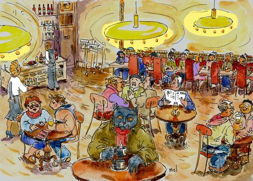 L'Ouximer observe les Démagrogs au Café de la Plage.