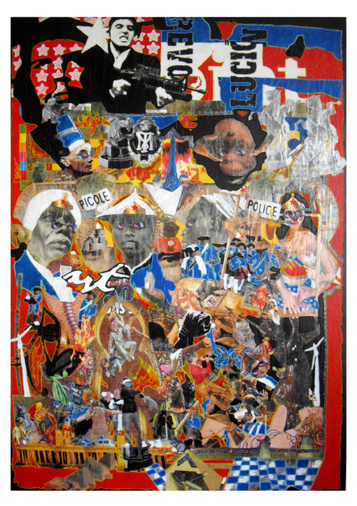 Collages & techniques mixtes, 170X120cm, 2011.