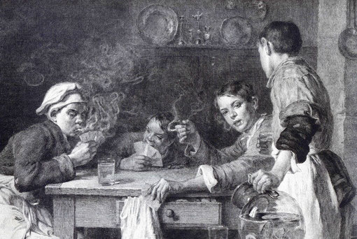 engraving of Decisy, XVIII Century, showing drunk children playing cards and smoking after work