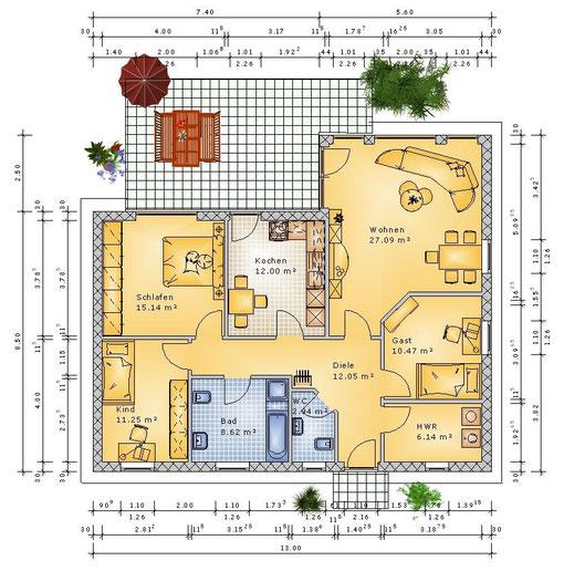 Grundriss 4 Zimmer und 105 m² Wohnfläche (klick vergrößern)