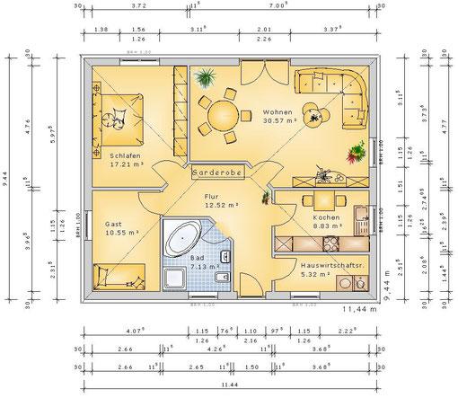 F-VH-B90 ECO - Variante 3 Zimmer (klick vergrößern)