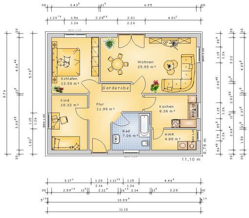 F-VH-B82 ECO - Variante 3 Zimmer (klick vergrößern)