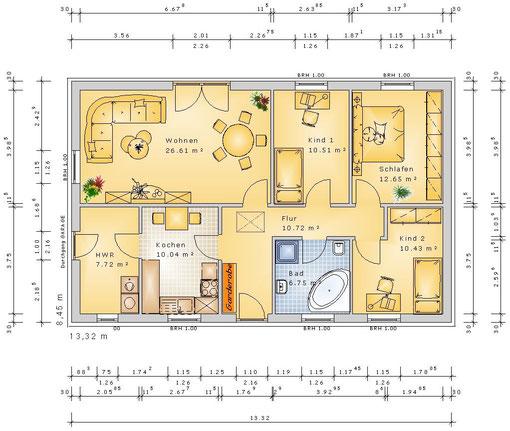 F-VH-B95 ECO - Variante 4 Zimmer (klick vergrößern)
