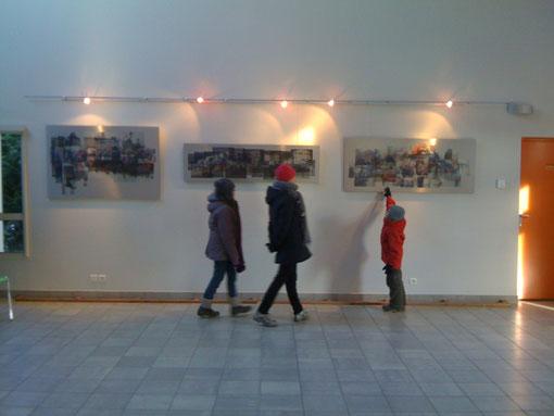 Photo des 3 oeuvres londoniennes exposées à la Maison ds Arts de Meaurecourt les 11 et 12 février 2012