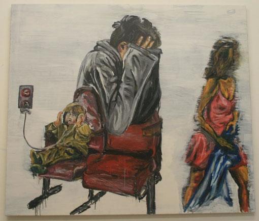 Auf der Flucht, Öl und Acryl auf Leinwand, 135x150